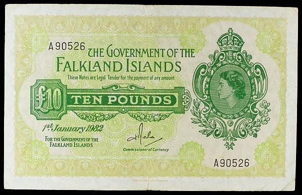 Falkland Islands 10 dated 1ST January 1982 series A90526, Pick11b, small pinholes Fine to good Fine