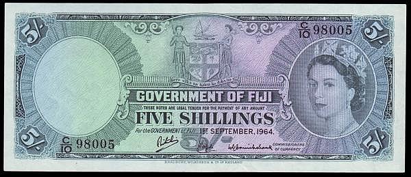 Fiji Five Shillings Pick 51 C/10 98005 VF pressed