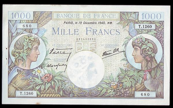 France 1000 francs dated 19 December 1940 series T.1260, Pick96a, GEF with a couple of small spots