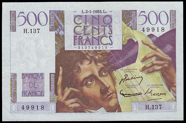 France 500 Francs 1953 issue, Pick 129c EF pressed, scarce