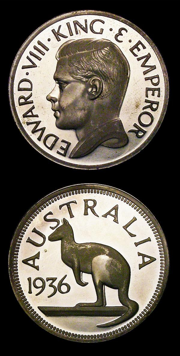 Australia INA Retro Series Fantasy Crown 1936 Edward VIII in silver, a trial having no obverse border beading UNC with some lustre, Rare, Canada INA Retro Series Fantasy Dollar 1901 Edward VII with die axis inverted Lustrous UNC, unique