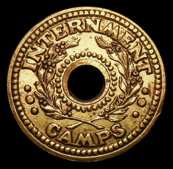 Australia Internment Camps Penny undated Brass issue (1943) KM#Tn1.1 GVF with a couple of small stains