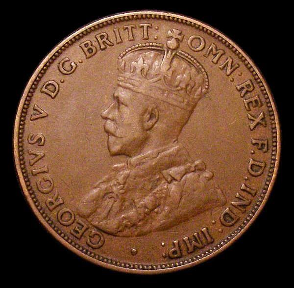 Australia Penny 1920 without dots KM#23 Fine, Rare