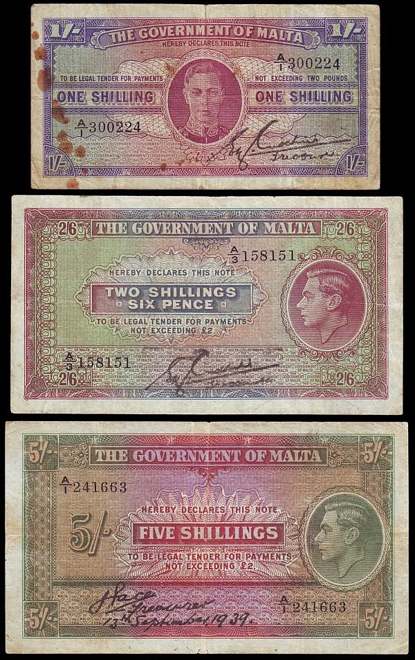 Malta (3) George VI Written style signature issues (3) Five Shillings, Two Shillings and Sixpence and One Shilling Pick 12, 11, 16 VG the last with spots