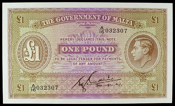 Malta Government 1 issued 1940, KGVI portrait at right & uniface, last series for signature type A/16 032307, Pick20b, UNC