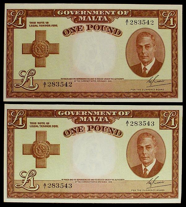 Malta Government 1 (2) issued 1951 first series consecutive pair A/1 283542 & A/1 283543, KGVI portrait, Pick22a, about UNC to UNC
