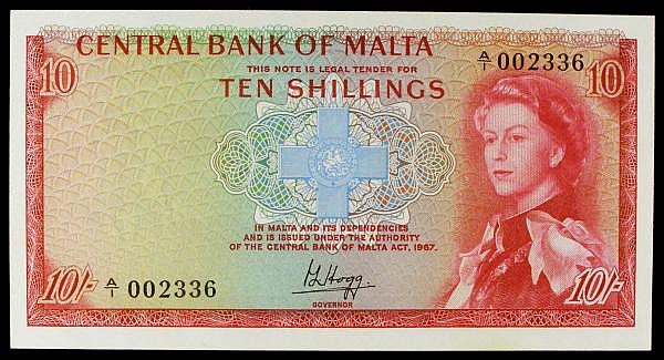 Malta 10 shillings, QE2 portrait, first series A/1 002336, Pick28a, UNC