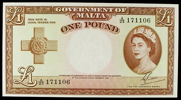 Malta 1 issued 1954 series A/23 171106, Cuschieri signature, QE2 portrait, Pick24a, about UNC