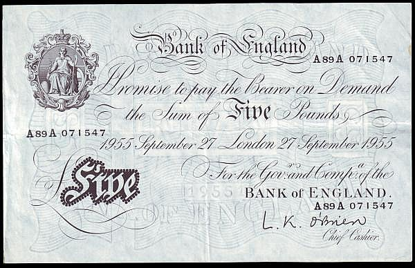 Five pounds O'Brien white B276 dated 27th September 1955, series A89A 071547, Pick345, small edge stain, GVF