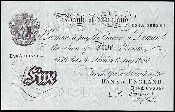 Five pounds O'Brien white B276 dated 6th July 1956, series D34A 095884, Pick345, GVF