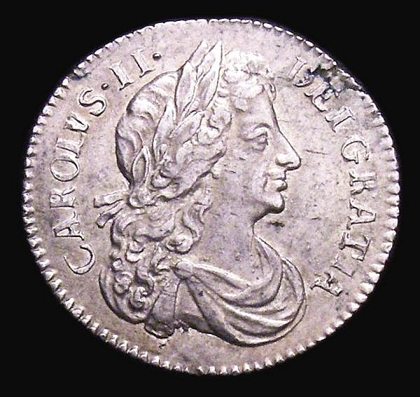 Sixpence 1681 ESC 1520 NEF with some small spots and a flan flaw by DEI
