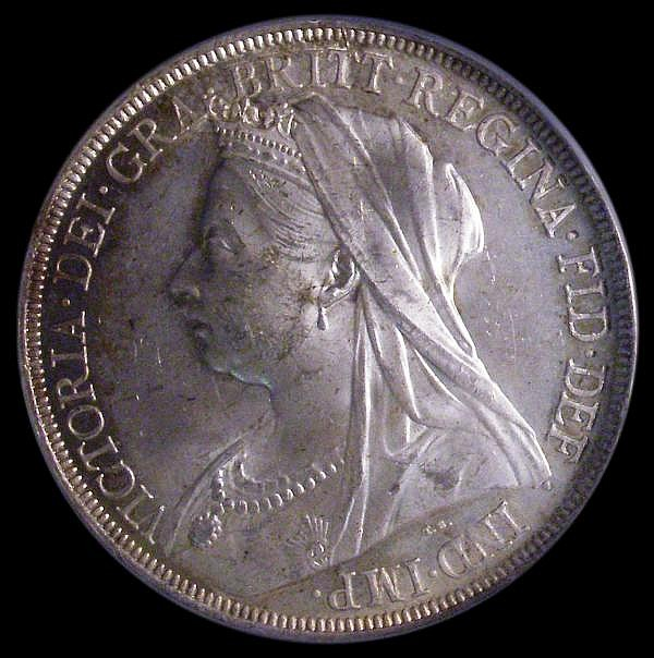 Crown 1897 LX ESC 312 A/UNC and lustrous with a hint of golden tone, slabbed and graded CGS 75