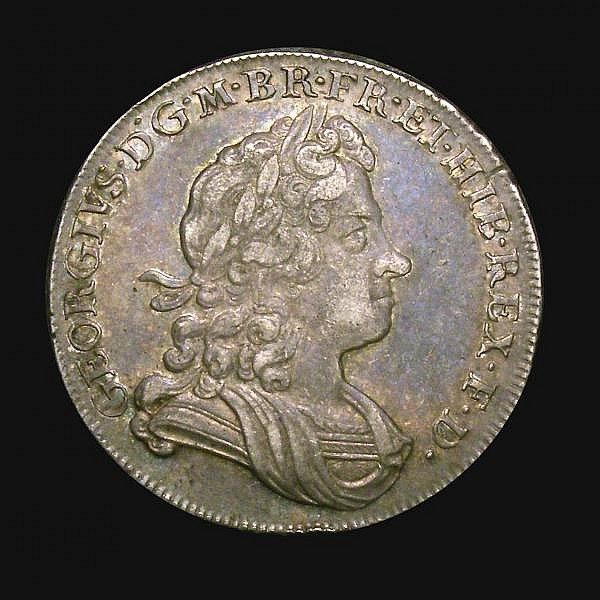 Halfcrown 1723 SSC ESC 592 VF/GVF the reverse with a colourful and pleasing tone