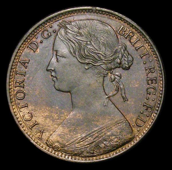 Penny 1874H Freeman 66 dies 6+G GEF with a trace of lustre