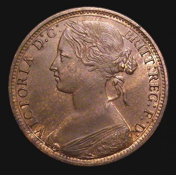 Penny 1874 Freeman 67 dies 6+H EF with traces of lustre and a few small edge nicks, Rare