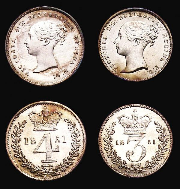 Maundy Set 1851 ESC 2461 UNC the Fourpence and Threepence with some small edge nicks, all coins with a slightly patchy but original matching tone