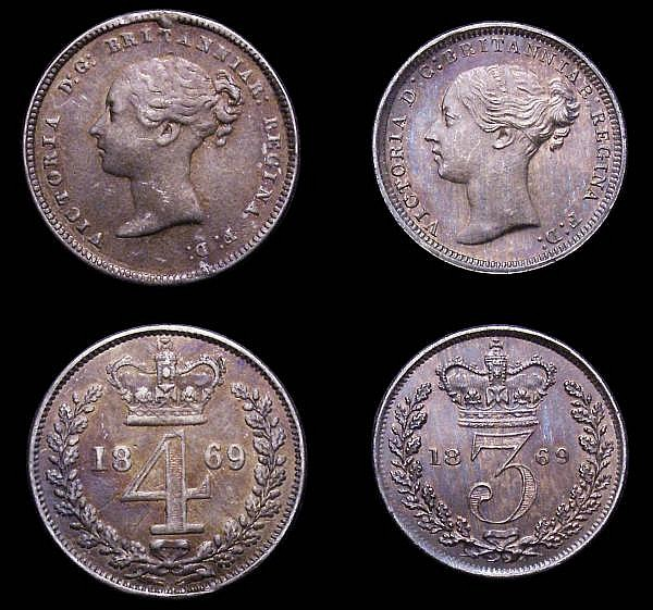 Maundy Set 1869 ESC 2481 Fourpence VF with a thin scratch on the reverse, others GEF to A/UNC all with matching tone