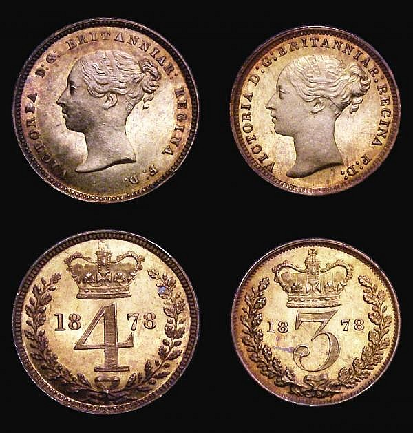 Maundy Set 1878 ESC 2491 UNC with some small rim nicks, all four coins with a choice deep golden tone the Twopence also with flashes of deep magenta tone giving a superb eye appeal