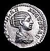 Plautilla. Ar Denarius. Rome,  C, 202 AD.  Rev; CONCORDIAE AETERNAE; Plautilla and Caracalla standing facing, clasping hands. RIC 361.  Good metal and detail.  3.18g.  VF