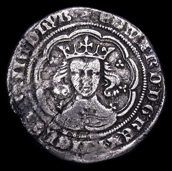 Groat Edward III Fourth Coinage, London Mint, S.1569 series F, mintmark Crown, Fine or slightly better for wear with some old scratches and a surface crack on the obverse