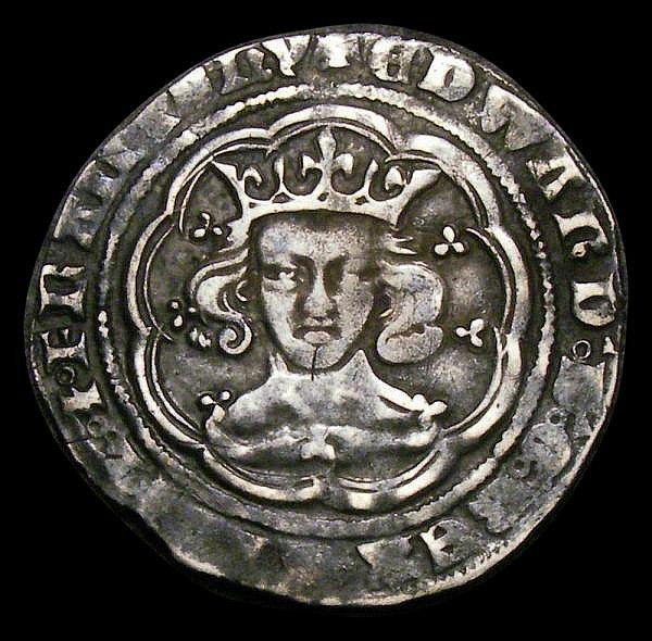 Groat Edward III Fourth Coinage, London Mint, Pre-Treaty period, series E, V with nick in right limb S.1567 Bold Fine with grey tone