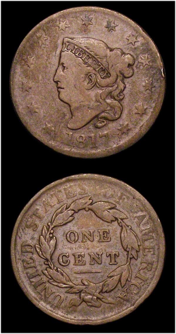 USA Half Cent 1809 Curved date Breen 1557 About VF, One Cent 1817 Close Date Breen 1796 VG