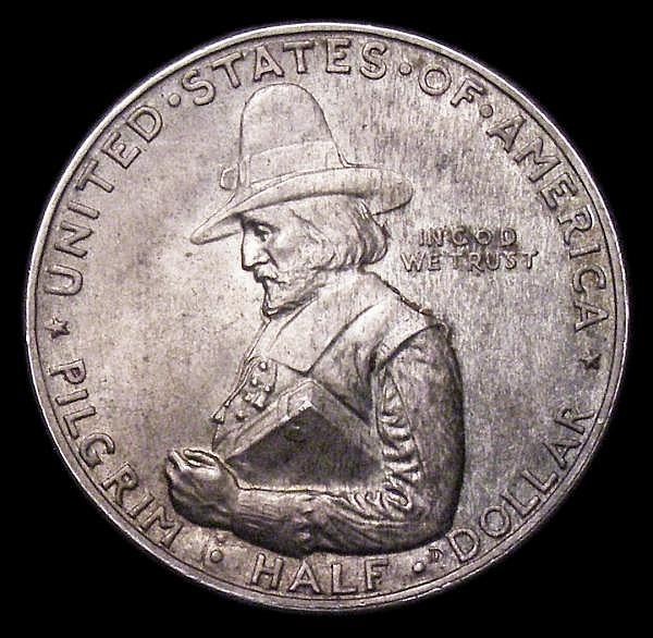 USA Half Dollar Commemorative 1920 Pilgrim Tercentenary Breen 7448 A/UNC and attractively toned