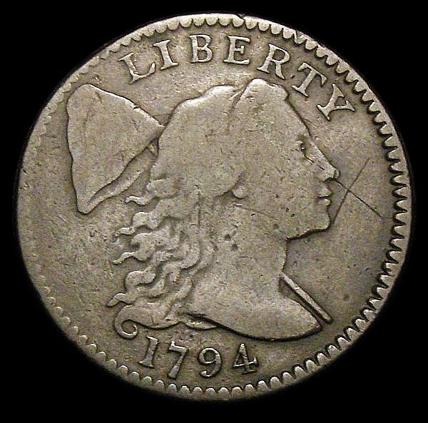 USA One Cent 1794 Breen 1669 NF/VG the reverse worn in the centre, the obverse with an X in the field, Very Rare