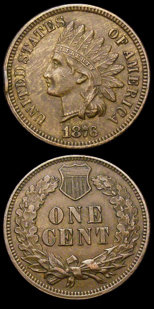 USA One Cent (2) 1866 Breen 1968 VG, 1876 Breen 1993 Good Fine with an edge knock