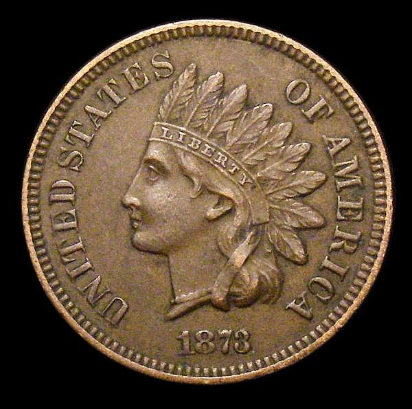 USA One Cent 1873 Open 3 in date Breen 1987 VF the obverse with a few small spots, Rare