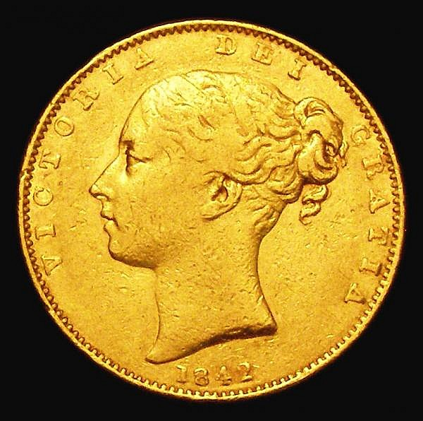 Sovereign 1842 Open 2 in date S.3852 Fine. The reverse slightly better, Rare