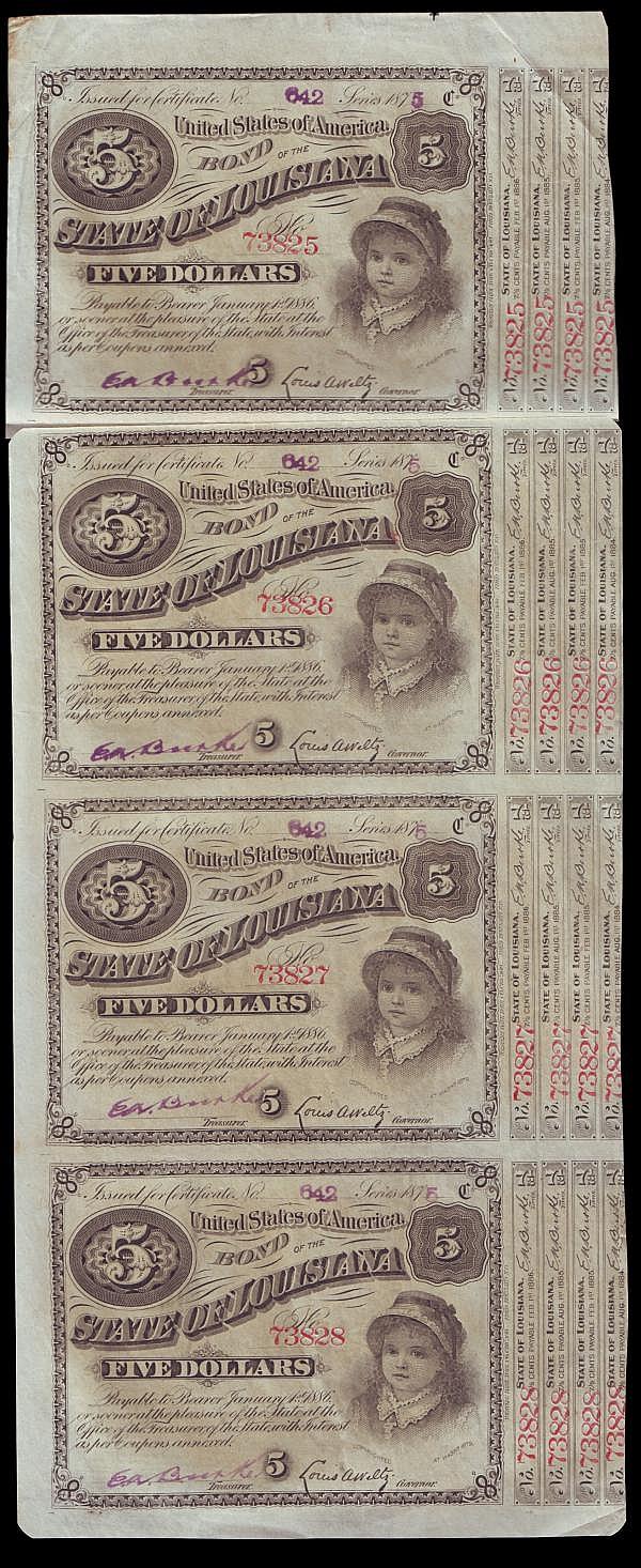 USA Louisiana $5 Baby Bonds 1870s-1880s on an uncut sheet (4) EF