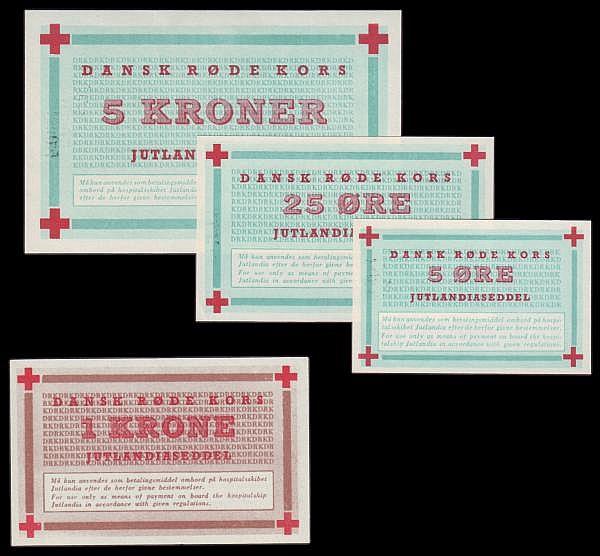 Denmark Red Cross Korea War issues (4) 5 ore, 25 ore 1 krone and 5 kroner used aboard hospital ship Jutlandia, UNC
