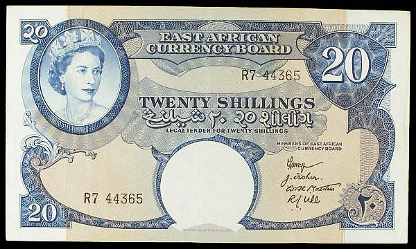 East Africa 20 shillings QE2 issued 1958-60 series R7 44365, 4 signatures at right, Pick39, VF