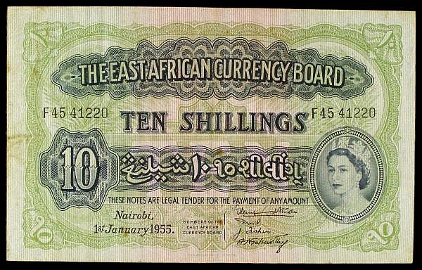 East Africa 10 shillings QE2 dated 1st January 1955 series F45 41220, a few rust spots & dirt on reverse, Pick34, good Fine