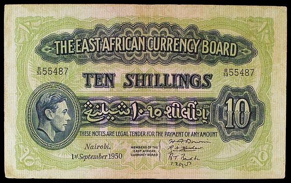 East Africa 10 shillings dated 1st September 1950 series B/53 55487, KGVI portrait at left, Pick29b, stains, good Fine