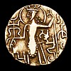 Ancient India Kushan gold dinar (7.6 grammes) King standing left and holding trident (c.230-360AD) Fine