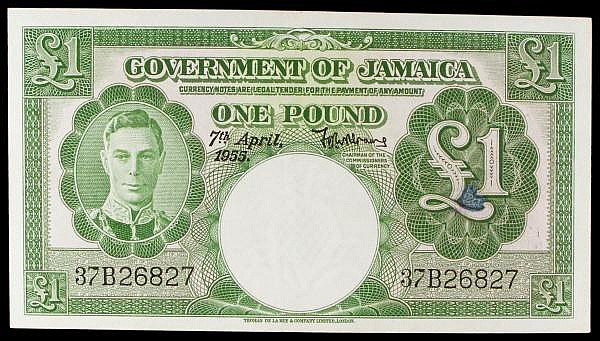 Jamaica 1 dated 7th April 1955 series 37B 26827, KGVI at left, Pick41b, pressed EF