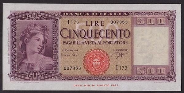 Italy 500 lire Banca d'Italia dated 1961 series i173 007353, Pick80b, lightly pressed, GEF but looks better