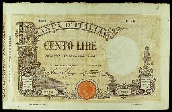 Italy 100 lire dated 7th July 1921 series O363 0576, Pick39f, tiny pinholes at left, Fine+