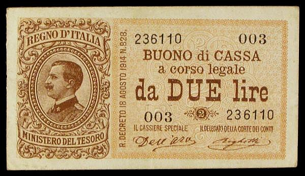 Italy 2 lire issued August 1914 series 003 236110, small size note, Pick37a, about EF