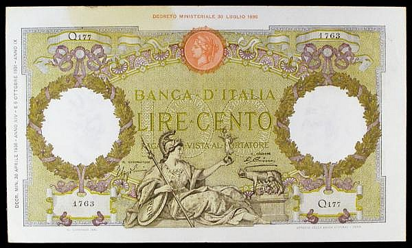 Italy 100 lire dated 30th April 1936 series Q177 1763, Pick55a, stain top left, EF