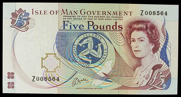 Isle of Man 5 issued 1991, QE2, replacement series Z008564, Pick41br, about UNC to UNC