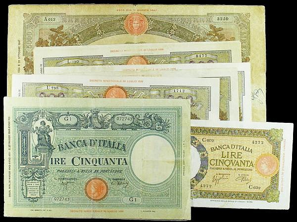Italy (9) 5000 Lire 1947 Pick 85c VG, 100 Lire 1931-1942 Pick  55 (6), 50 Lire (2) 1926 Pick 50c, 1943 Pick 58 in mixed grades VG to Fine