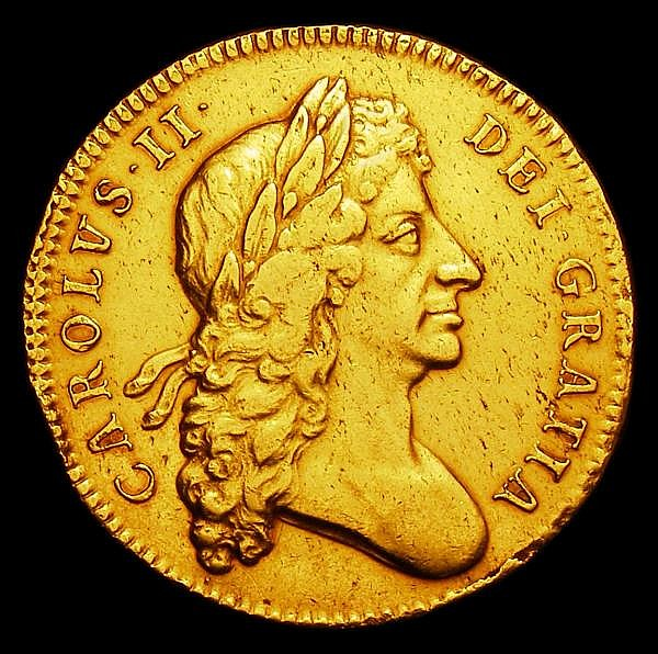 Five Guineas 1678 Second Bust 8 over 7 S.3331 VF with a gentle edge bruise at 8 clock