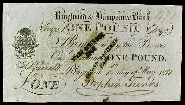 Ringwood & Hampshire Bank 1 dated 1821 No.R8473 for Stephen Tunks, (Outing 1788b), small dividend stamps on face, pinholes GVF