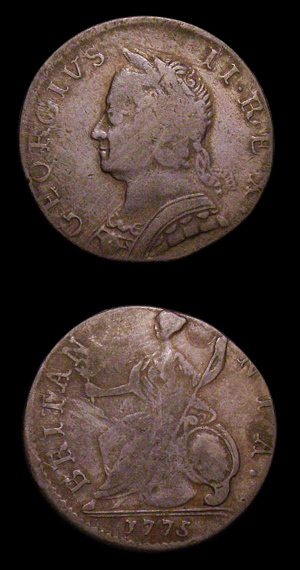Halfpennies Contemporary Counterfeits (2) George II but dated 1775 a muling of George II and George III dies, approaching Fine for issue, unlisted in the Coleman or Anton/Kesse books, struck slightly off-centre and very unusual, George III 1775
