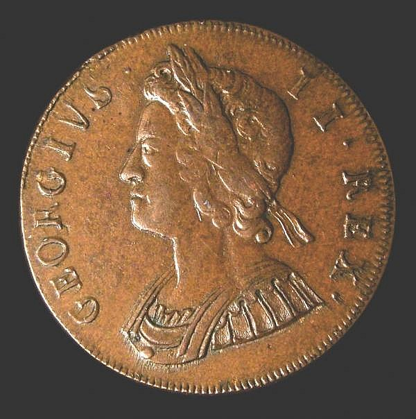 Halfpenny 1730 Peck 836 GEF slabbed and graded LCGS 65