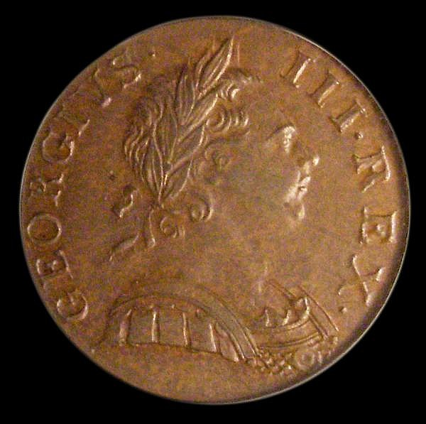 Halfpenny 1770 Peck 893 A/UNC toned, slabbed and graded LCGS 70