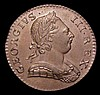Halfpenny 1774 Peck 907 EF toned, with some light surface residue from vinyl storage, this possibly removable with care